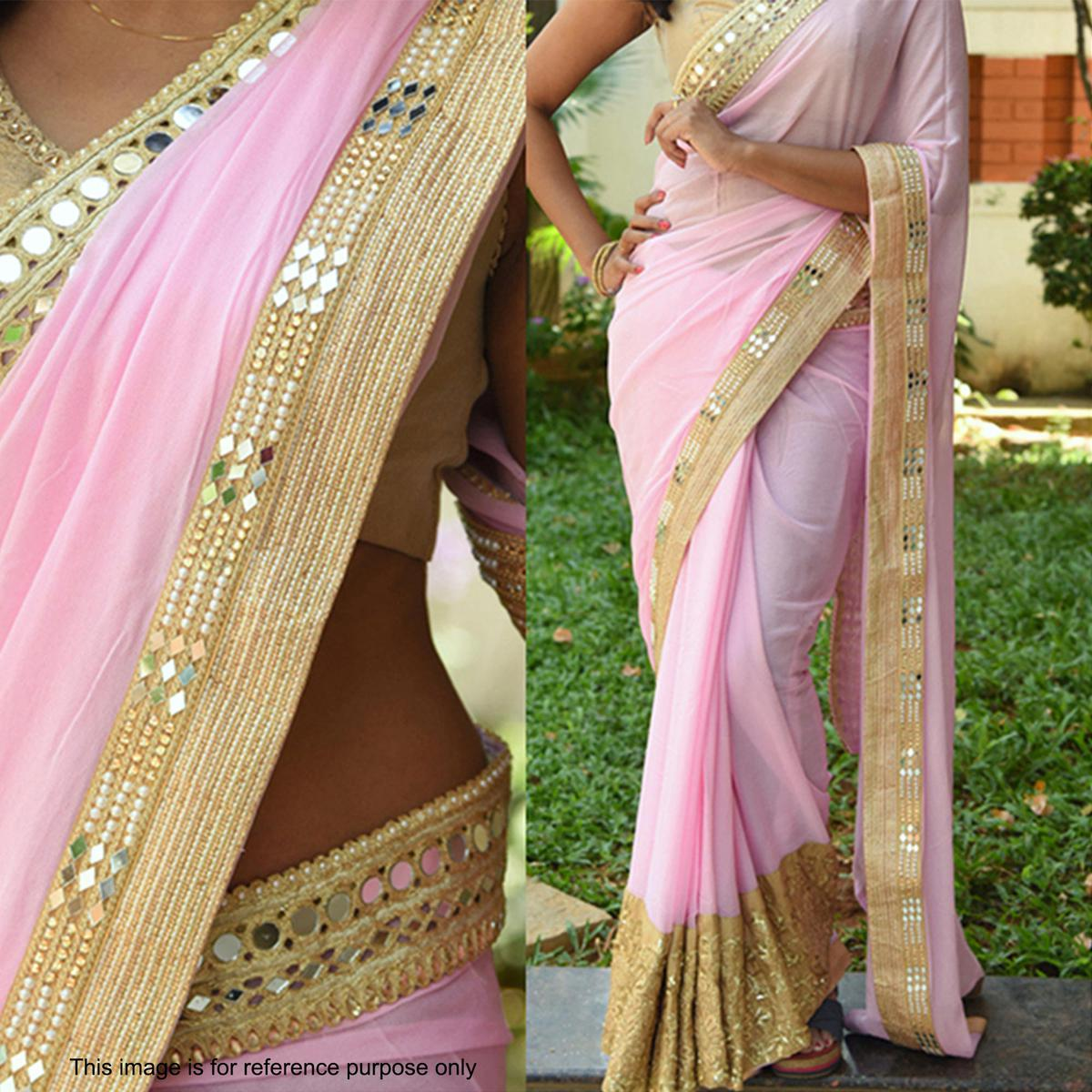 Beautiful Light Pink Saree with Golden Blouse