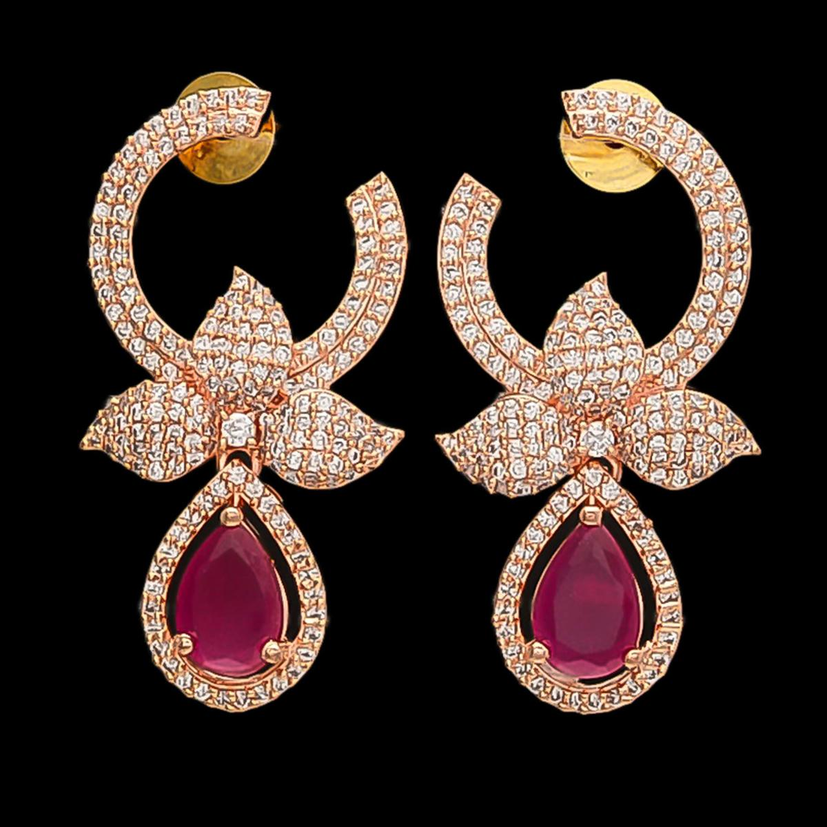 Ideal Rose Gold American Diamond Red Stone Earrings