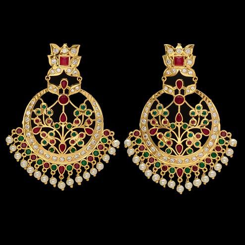 Pleasance Multi-Colour Stone Chandbali Earrings with Pearl Hangings
