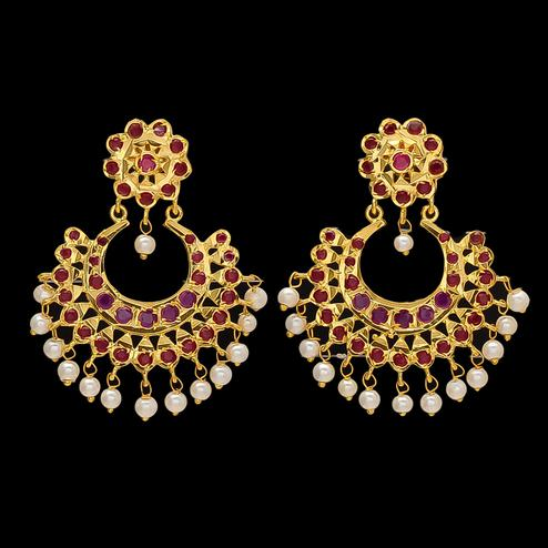 Staring Red Stone Chandbali Earrings with Pearl Hangings
