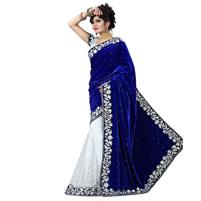 Navy Blue - Off White Half & Half Saree