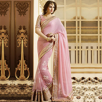 Light Pink Designer Saree with Patch Border Work