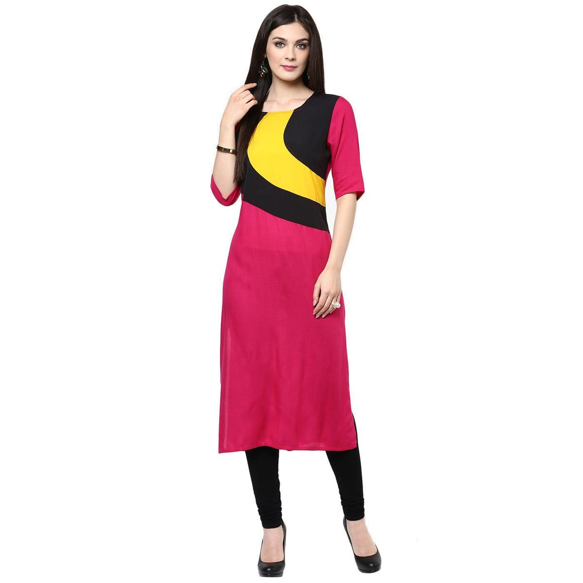 Pink Round Neck Pure Cotton Kurti