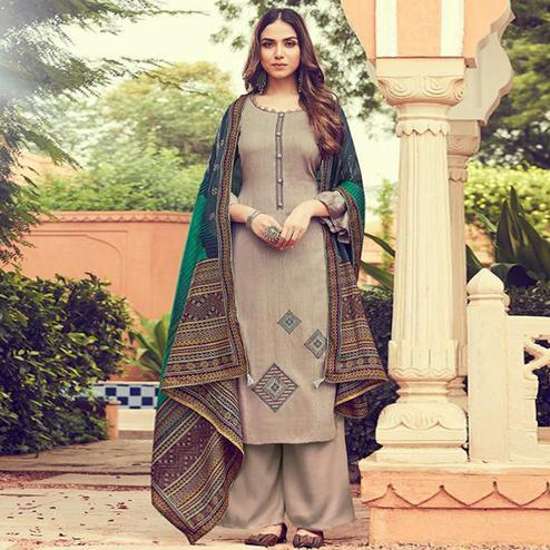 Jazzy Chiku Colored Partywear Embroidered Cotton Palazzo Suit