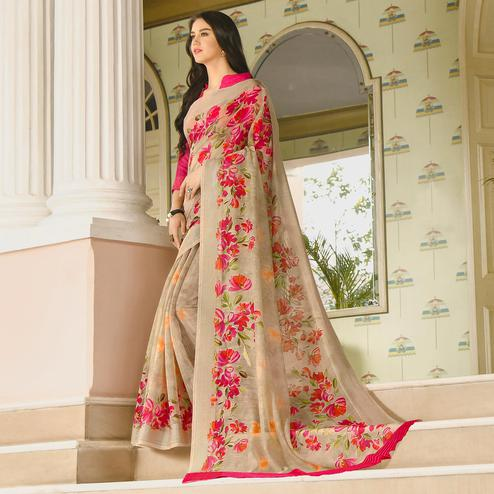 Adorable Beige Colored Casual Wear Printed Linen Saree