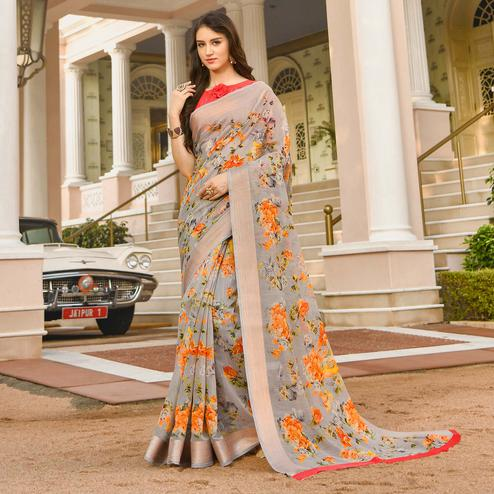 Glorious Grey Colored Casual Wear Printed Linen Saree