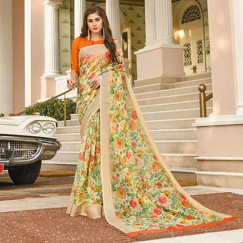 Attractive Light Yellow Colored Casual Wear Printed Linen Saree