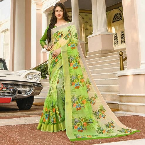 Beautiful Green Colored Casual Wear Printed Linen Saree