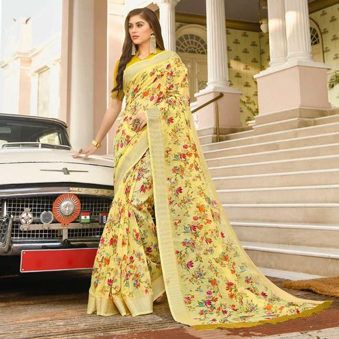 Graceful Yellow Colored Casual Wear Printed Linen Saree