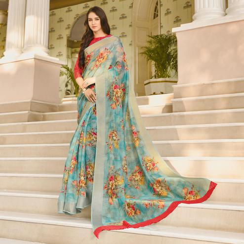 Blooming Aqua Blue Colored Casual Wear Printed Linen Saree