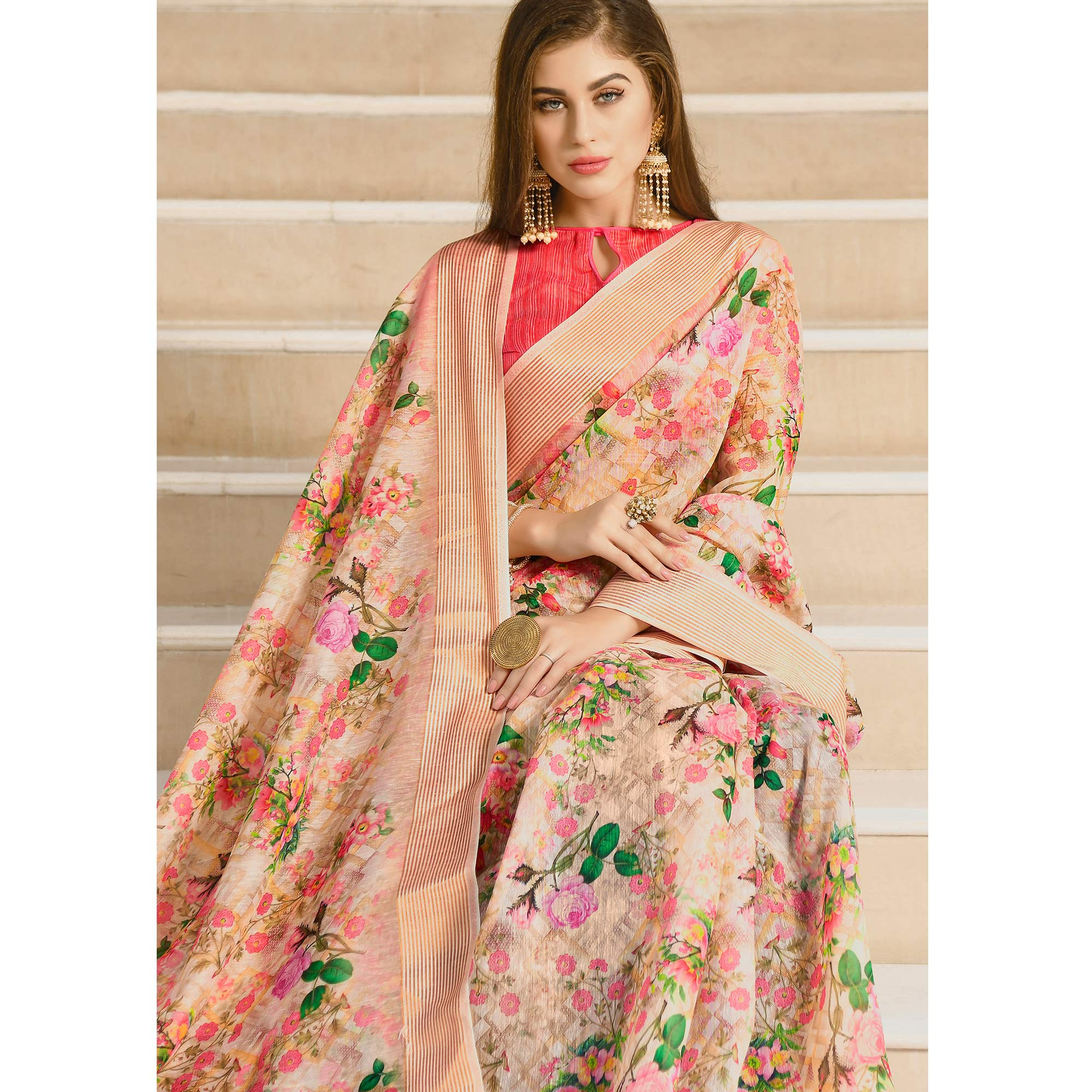Charming Peach Colored Casual Wear Printed Linen Saree