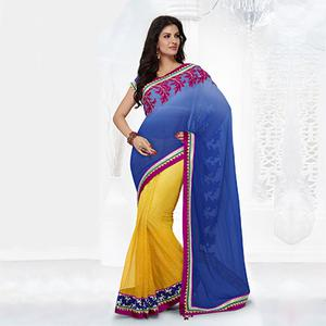Sparkling Designer Blue Saree With Embroidery Work