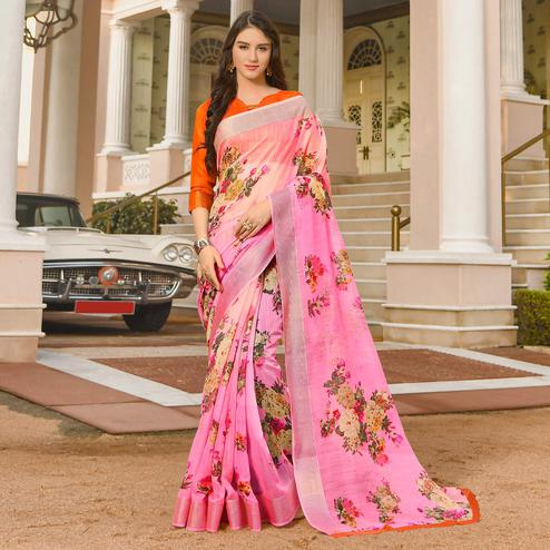 Jazzy Pink Colored Casual Wear Printed Linen Saree