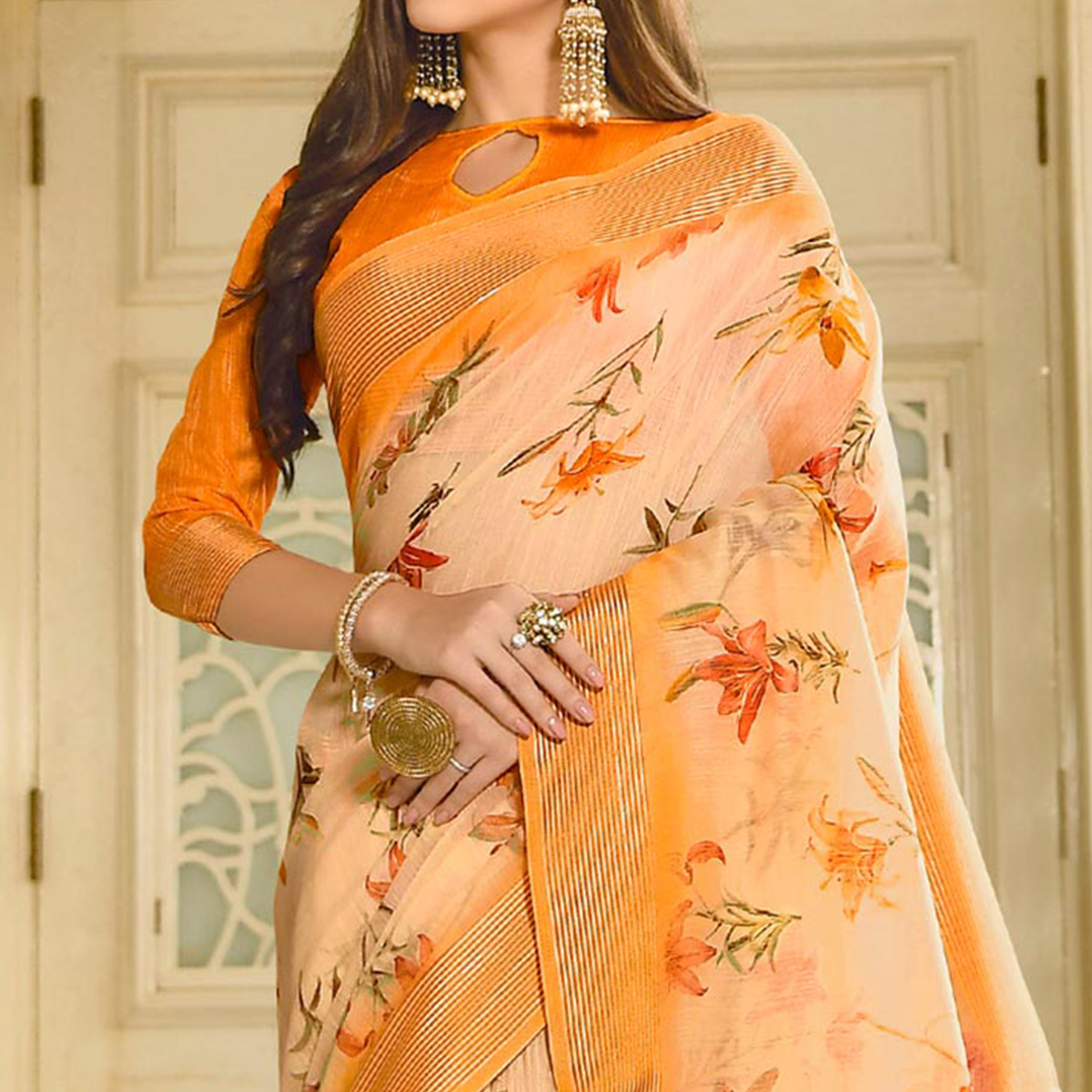 Engrossing Light Orange Colored Casual Wear Printed Linen Saree