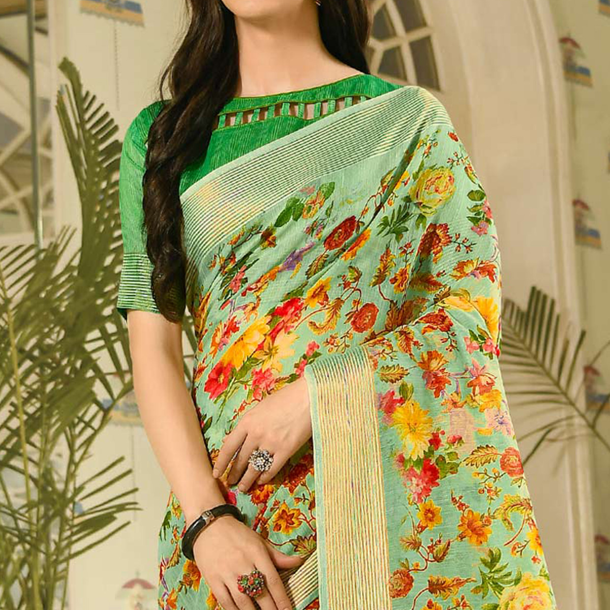 Captivating Mint Green Colored Casual Wear Printed Linen Saree