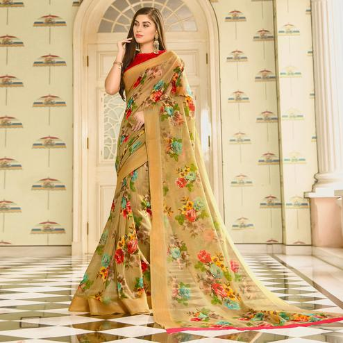 Innovative Chiku Colored Casual Wear Printed Linen Saree