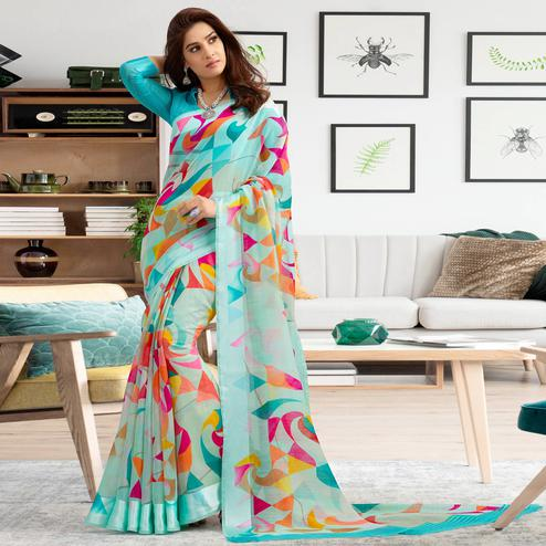 Glorious Aqua Blue Colored Casual Printed Cotton Saree