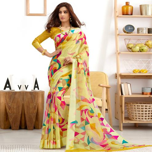 Attractive Lemon Green Colored Casual Printed Cotton Saree