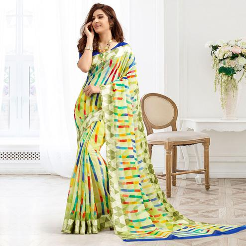 Attractive Green Colored Casual Printed Cotton Saree