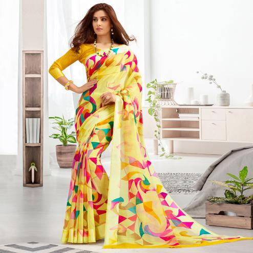 Beautiful Yellow Colored Casual Printed Cotton Saree