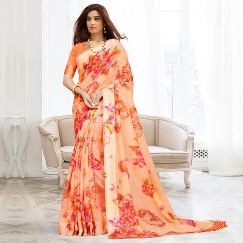 Graceful Peach Colored Casual Printed Cotton Saree