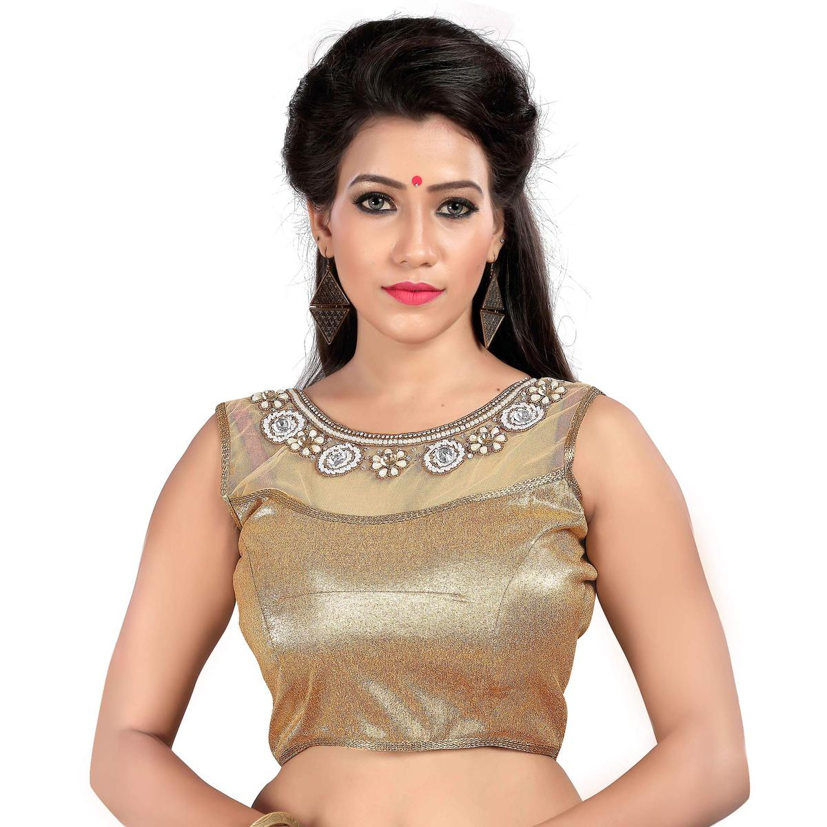 Beige Wedding Wear Designer Blouse
