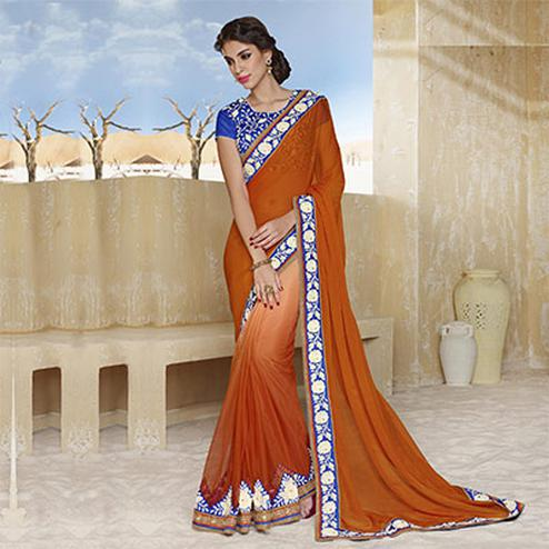 Orange Color Designer Floral Work Bordered Saree