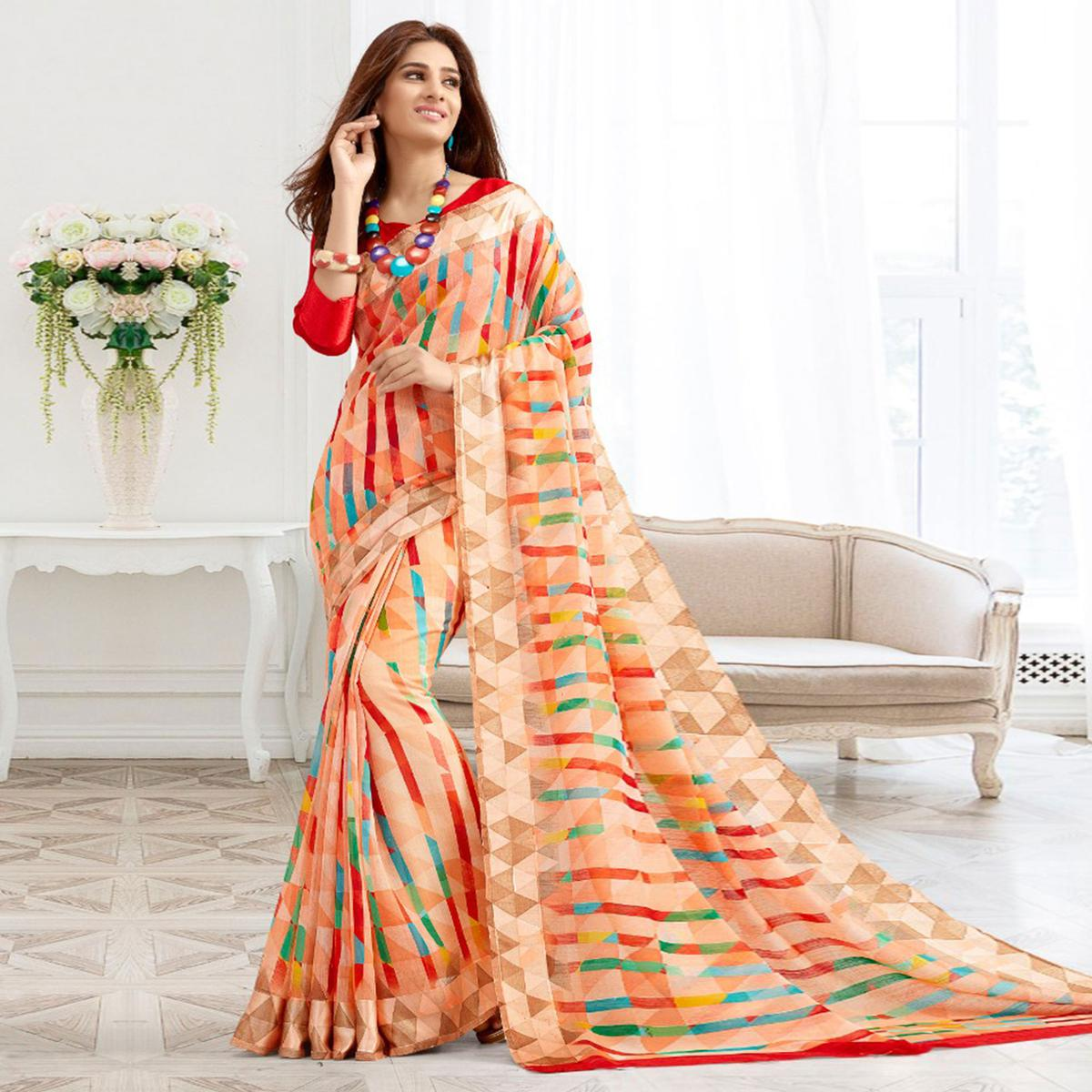 Charming Peach Colored Casual Printed Cotton Saree