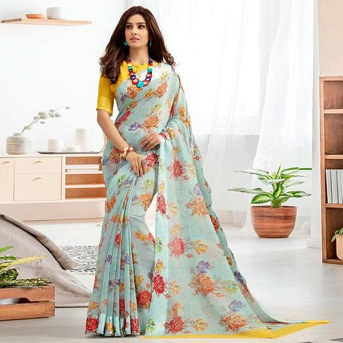 Charming Grey Colored Casual Printed Cotton Saree