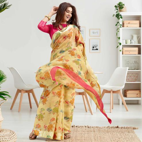 Jazzy Beige Colored Casual Printed Cotton Saree