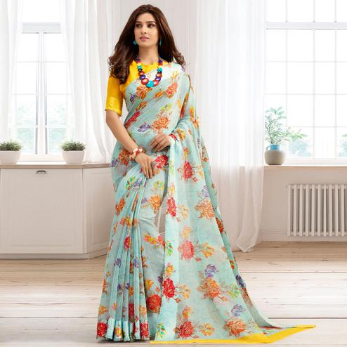 Jazzy Light Aqua Blue Colored Casual Printed Cotton Saree