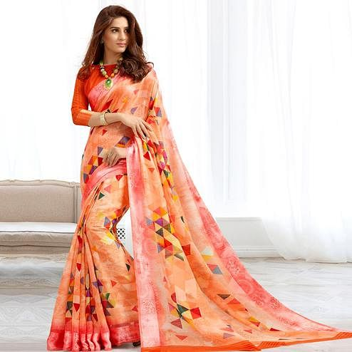 Engrossing Peach Colored Casual Printed Cotton Saree
