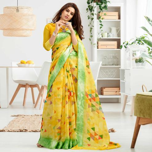 Captivating Yellow Colored Casual Printed Cotton Saree