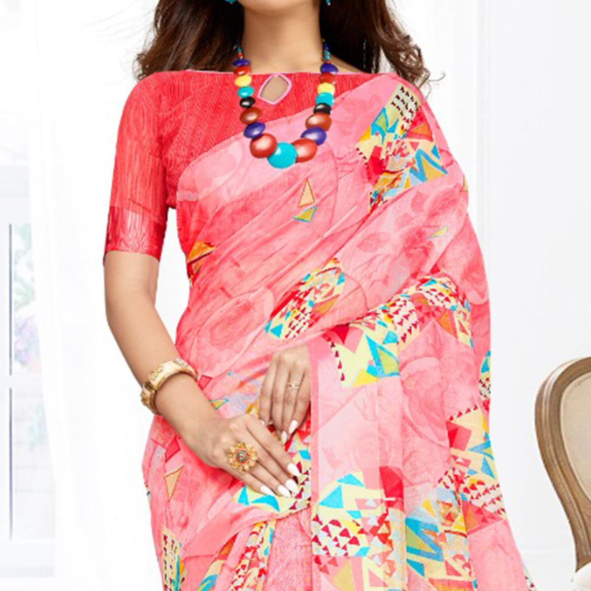 Eye-catching Pink Colored Casual Printed Cotton Saree