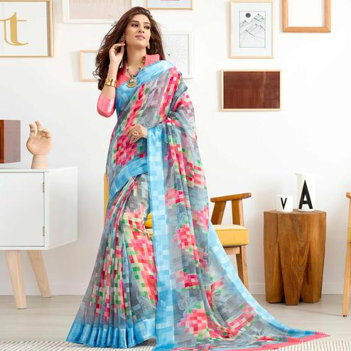 Eye-catching Blue Colored Casual Printed Cotton Saree