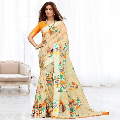 Fantastic Beige Colored Casual Printed Cotton Saree
