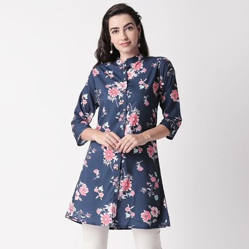 Magnetic Navy Blue Colored Casual Floral Printed Crepe Short Kurti