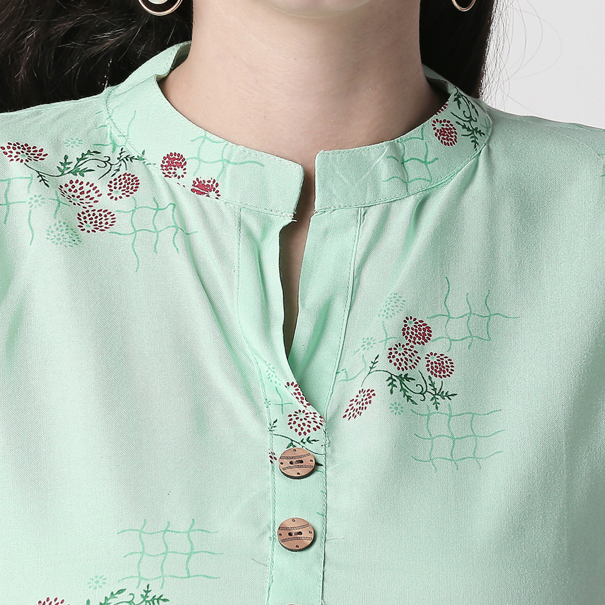 Flattering Aqua Green Colored Casual Floral Printed Cotton Kurti-Palazzo Set