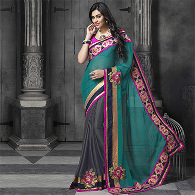 Teal Green - Grey Designer Floral Half Saree