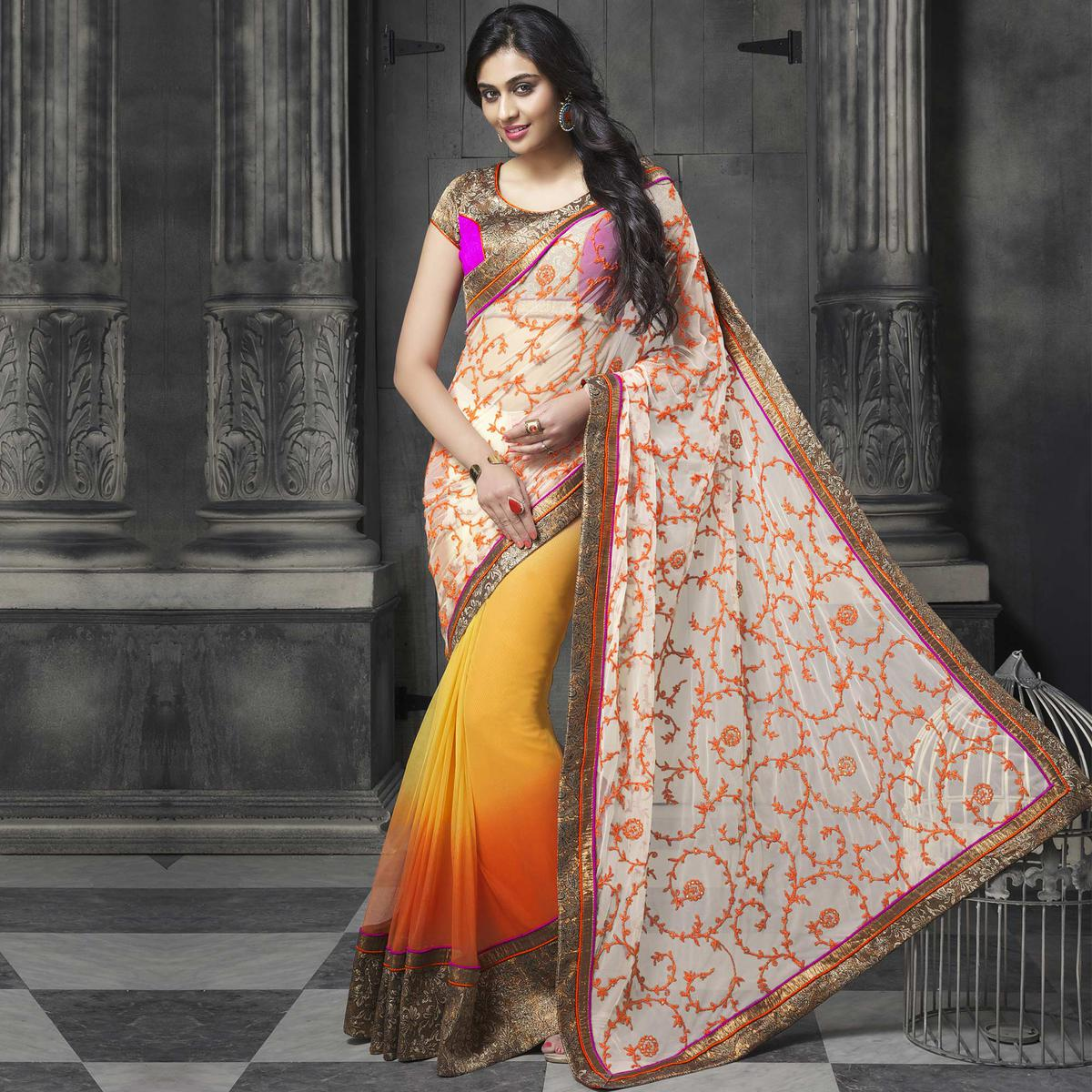 Adorable Shaded Tri Color Net Half Saree