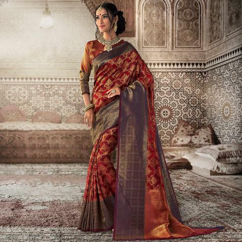 Imposing Maroon Colored Festive Wear Woven Silk Saree