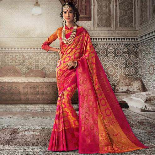 Lovely Pink - Golden Colored Festive Wear Woven Silk Saree