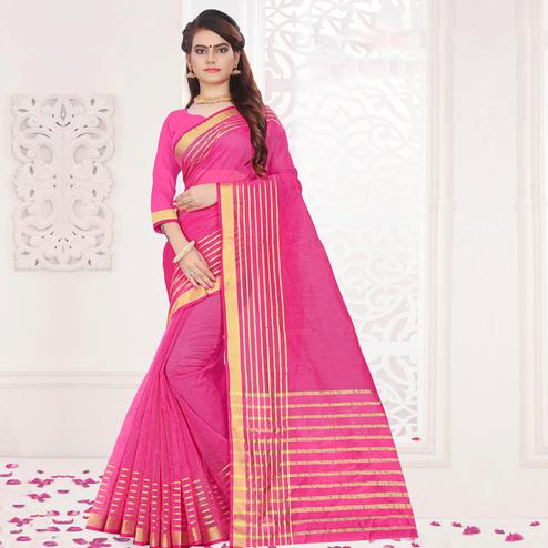 Sophisticated Pink Colored Festive Wear Woven Cotton Saree