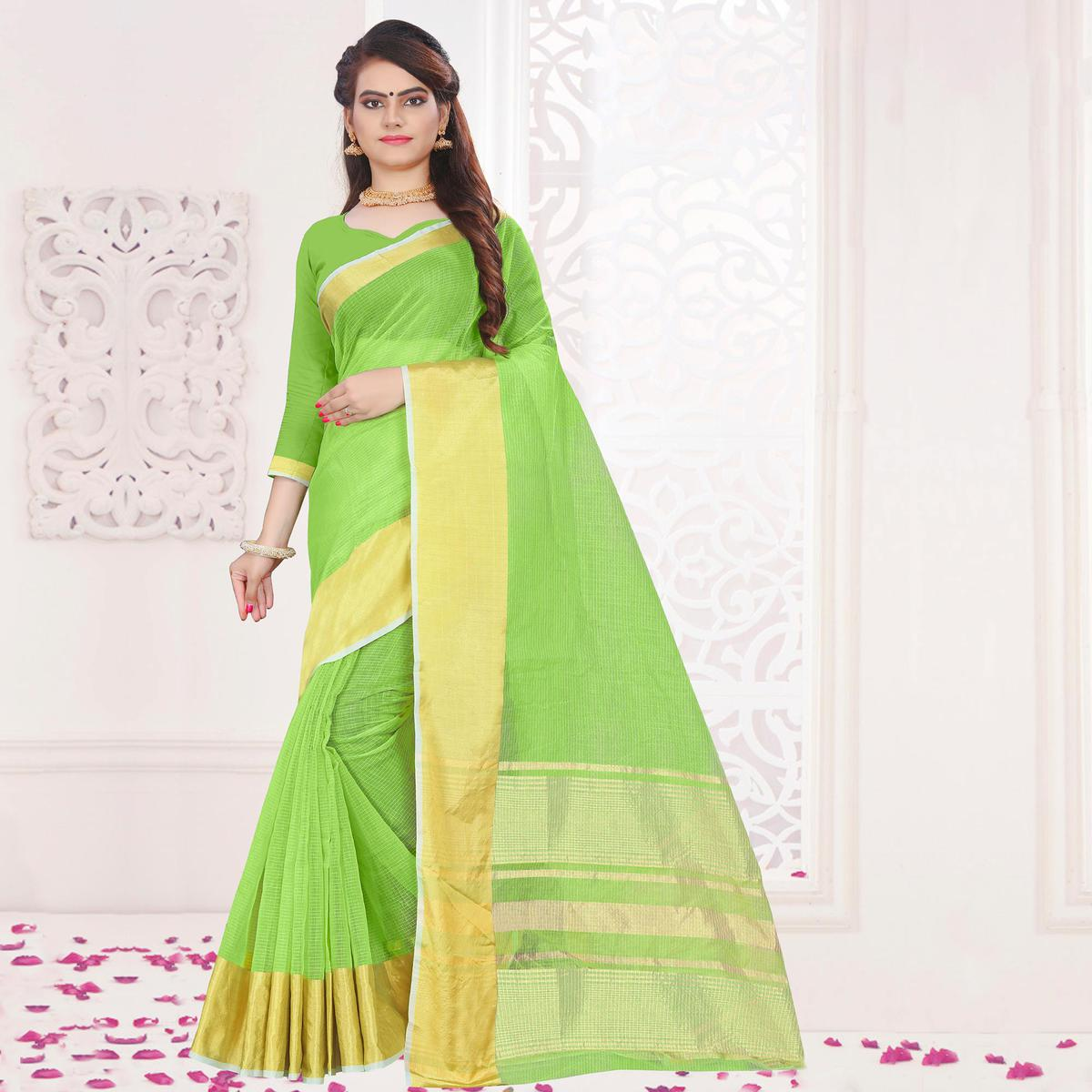 Trendy Green Colored Festive Wear Woven Cotton Saree