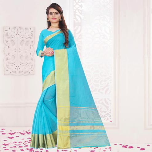 Radiant Sky Blue Colored Festive Wear Woven Cotton Saree