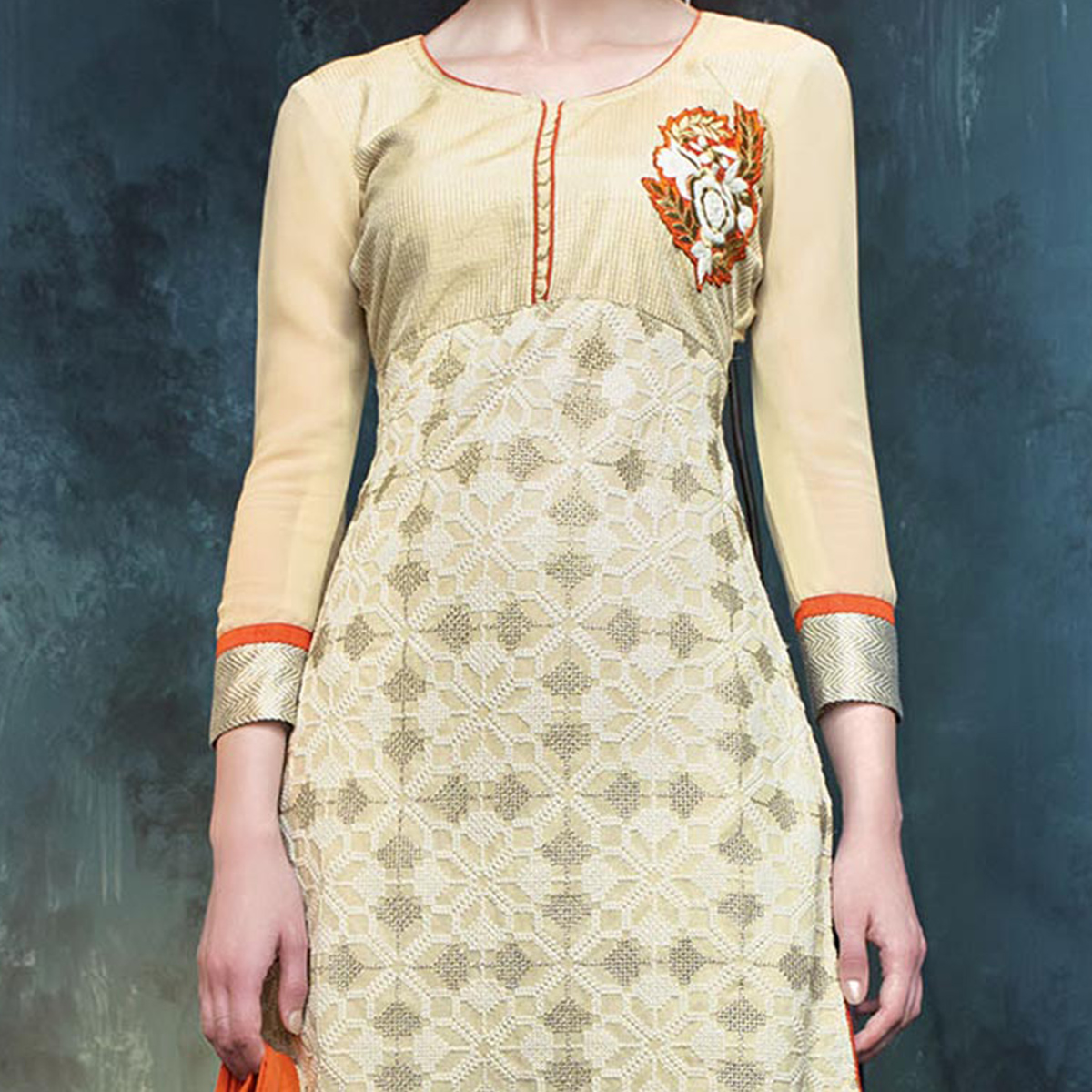 Cream - Orange Embroidered Salwar Kameez