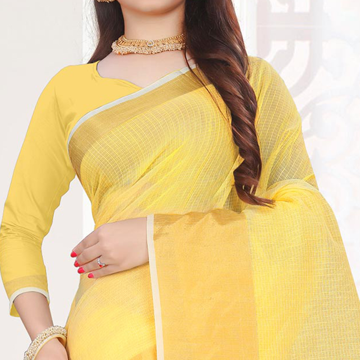 Energetic Yellow Colored Festive Wear Woven Cotton Saree
