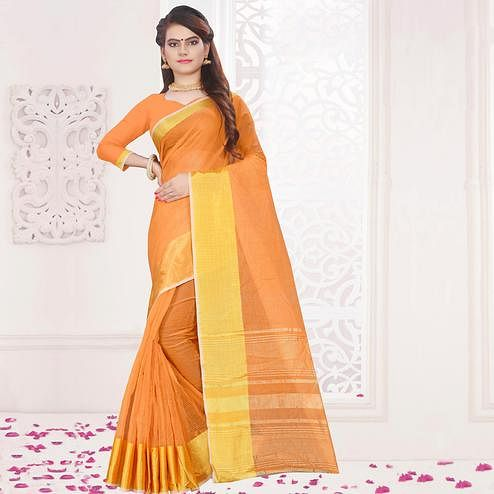Glowing Orange Colored Festive Wear Woven Cotton Saree