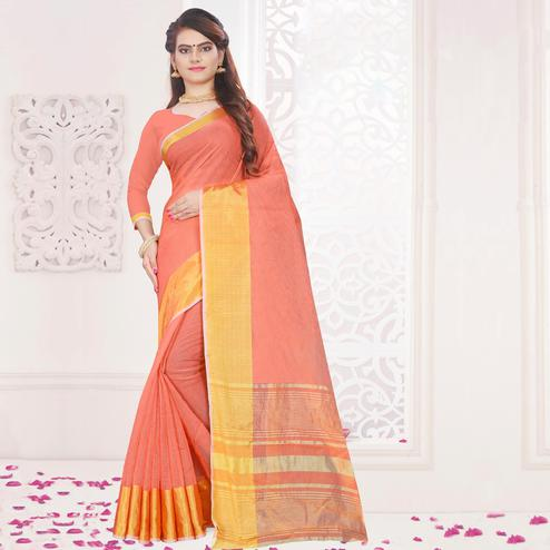 Exceptional Peach Colored Festive Wear Woven Cotton Saree