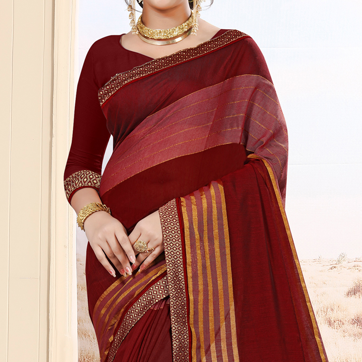 Elegant Maroon Colored Festive Wear Cotton Saree